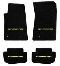 NEW BLACK FLOOR MATS 2010-2015 Camaro Embroidered Logo BLOCK Script Yellow SET 4