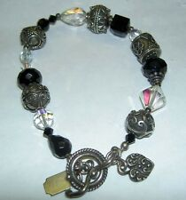 TRES JOLIE Sterling Silver 925 Bali Bead Ball AB Black Crystal Toggle Bracelet