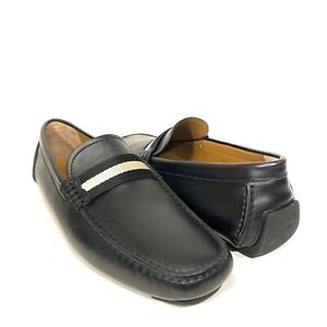 BALLY Mens Waltec Logo Calf Leather Drivers Loafers Plain Black (MSRP $550)