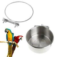 Stainless Steel Pet Hanging Bowl Feeding Cat Dog Bird AU 1 Cup Water Parrot B8Y5