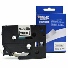 TZe241/TZ241 COMPATIBLE 18mm x.8m TAPE [BLACK ON WHITE] FOR BROTHER P TOUCH