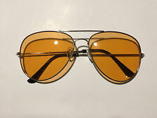 Silver HD Aviator Glasses Orange Lens Sunglasses Retro NEW Colored Metal Frame