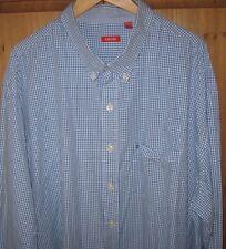 IZOD Mens Dress Shirt Button Blue Gingham Plaid 3 XLT