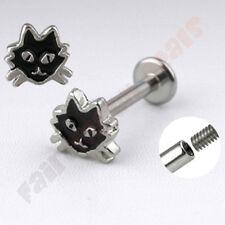 316L Surgical Steel Black Cat Top Labret Monroe