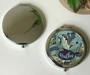 Personalised William Morris Acanthus Grey,Dull Blue Compact Mirror, Gold, Silver