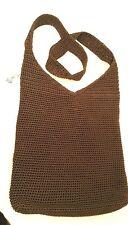 The SAK BROWN Crocheted Purse Shoulder Tote Bag Cross Body Bucket Hobo EUC