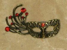 EXQUISITE VINTAGE STYLE BP &RED RHINESTONE MARDI GRAS MASK BROOCH Free Shipping