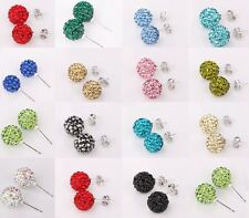 10MM High Quality Clay Sparkly Fine Crystals Ball Stud Shamballa Earrings