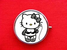 HELLO DOMINATRIX KITTY CAT RING TRINKET STASH ROUND MINT METAL PILL BOX CASE