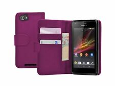 PURPLE Wallet Leather Case Cover for Sony Xperia M Dual experia +2 SCREEN FILMS