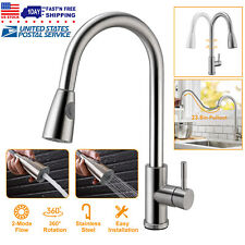 Single Handle Brushed Nickel Kitchen Faucet Mixer Tap Pull Down Sprayer Hot&Cold