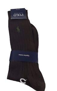 POLO Ralph Lauren Mens Brown Green Pony  Ribbed Dress Socks Cotton Wool Blend