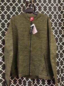 $250 Nike Tech Fleece Knit Jacket Legion Green/Black Sz LARGE 832178-331 NWT