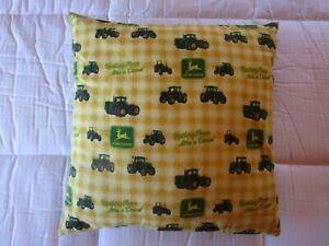 "John Deere Decorative Throw Pillow ""Handmade"" 15"" x 15"" Square EUC!"