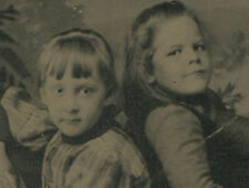 YOUNG SISTERS, POSED BACK TO BACK, VERY CUTE. TINTYPE.