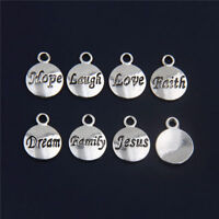 10Pcs Silver Charm Lovely Pendant Faith Love Hope DIY Jewelry Bracelet Necklace