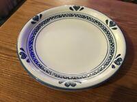 "Tienshan Blue Hearts design Dessert Plates 7 3/4"" Microwave Safe Stoneware"