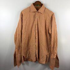 Larritus Jackson Washington DC Designer Mens Orange White French Cuff Shirt XL
