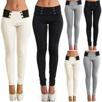 Mujer Cintura Alta Ajustado Fino Leggings Pantalones Largos Elástico Tipo Lápiz