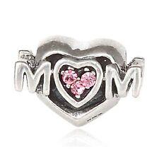 Love Heart Mum Mam Clear Genuine 925 Sterling Silver Charm 4 European Bracelet