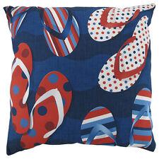 """Patriotic Flip Flops Climaweave Indoor/Outdoor 20"""" Decorative Throw Pillow"""