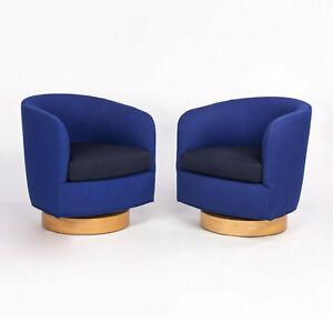 2018 Milo Baughman for Thayer Coffin Papa Roxy Swivel Lounge Chair Blue Fabric