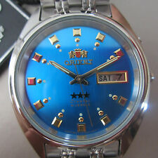 ORIENT MEN'S WATCH AUTOMATIC ALL S/S BLUE ORIGINAL JAPANFEM0401-NL9 NEW