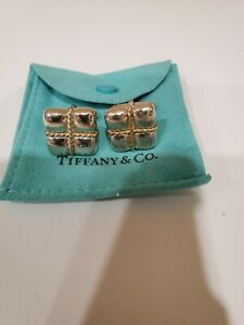 TIFFANY & CO. Sterling Silver and 18K Yellow Gold Square Cable Cuff Links