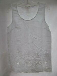 Cynthia Rowley boho tunic shirt M white batiste eyelet lace trim scoop neck MINT