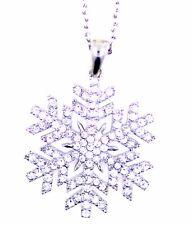 Collana pendente da 3,5 cm in argento e cristallo trasparente con fiocco di neve