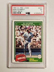 1981 O-Pee-Chee Baseball #207 - Mike Schmidt - Gray Back - Phil Phillies - PSA 5
