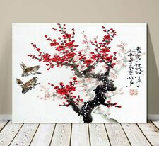 "Beautiful Japanese Landscape Art ~ CANVAS PRINT 8x10"" ~ Cherry Blossums 2 Birds"