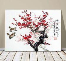 "Beautiful Japanese Landscape Art ~ CANVAS PRINT 8x10"" ~ Cherry Blossoms 2 Birds"
