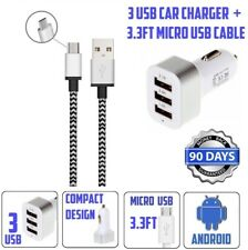 Three USB Universal CAR CHARGER 3 Port Adapter 4.1A Tangle Free Micro USB Cable
