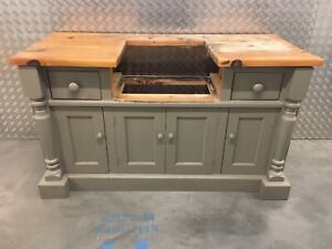 Solid Pine Freestanding Kitchen Belfast Sink Unit With Drawers & Cupboard