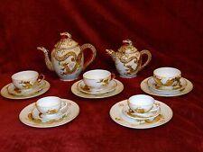 Dragon Ware Japanese China Manna Lithopane Tea Set Pot Caddy Cup Saucer set 2