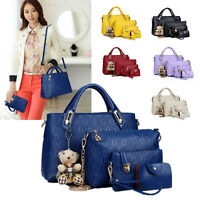 5 Pcs Women Handbag Tote Purse PU Leather Ladies Shoulder Messenger Hobo Bag New