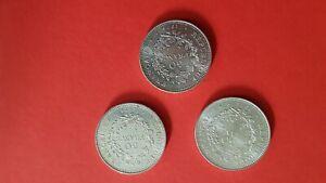 3 Pieces  50 Francs Hercule en Argent