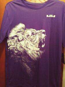 L👀K Nike Dri Fit Men's XL Lebron James Lion T-Shirt Basketball Purple
