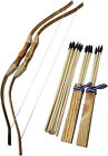 Handmade Wooden Bow Arrow Set 20 Wood Arrows And 2 Quivers - For Outdoor Play