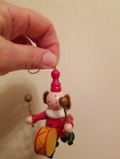 Christmas Tree Ornament Wooden Clown Beating Drum Drummer Xmas Handpainted Dots