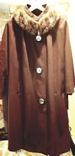 ARNOLD CONSTABLE FIFTH AVENUE WOMENS BROWN VINTAGE COAT MINK COLLAR~EUC~Large ?