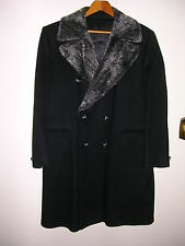 "DOUBLE BREASTED TOPCOAT 1970s ""FINE BLACK WOOL"" by MONTCLAIR,HUGHES & HATCHER"