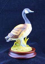 Andrea by Sadek Porcelain Figurine Canada Goose 6721 Japan W/ Wooden Base