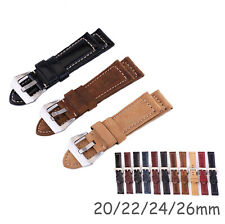 26/24/20/22mm Genuine Leather Watch Strap Crocodile Pattern Band w Retro Buckle