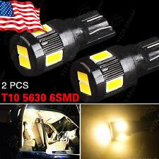 2X T10 High Power 5630 Warm White 6SMD LED License Plate Interior Light Bulb