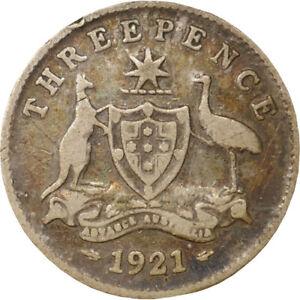 1921 Australia King George V Threepence Silver Coin