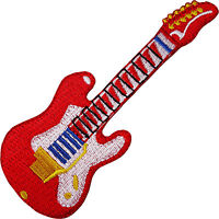 Red Electric Guitar Embroidered Iron / Sew On Patch Rock Music Hat Cap Bag Badge