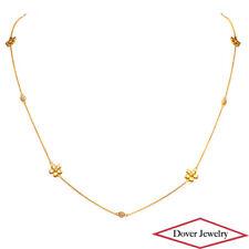 "Italian 0.18ct Diamond 14K Yellow Gold 22.5"" Long Flower Chain Necklace NR"