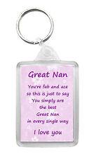 GREAT-NAN Keyring Keyfob Poem Verse Birthday Christmas Fun Novelty Gift